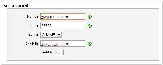 interface de gestion Hostgator cname
