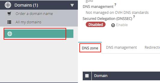 interface de gestion OVH dkim