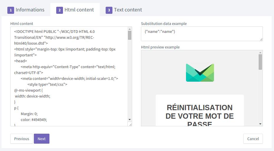 contenu HTML